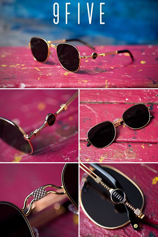 11a131324d1 9FIVE St. Michael Black and 24k Gold Sunglasses in 2019
