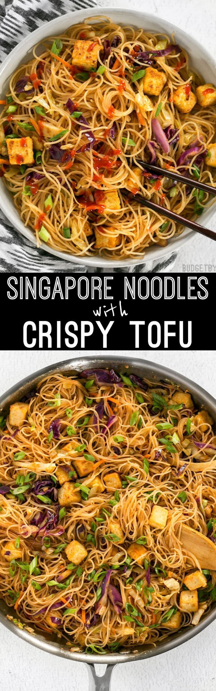 These Singapore Noodles with Crispy Tofu have a bold flavor and vibrant colors thanks to shredded vegetables and a bright curry sauce. @budgetbytes: