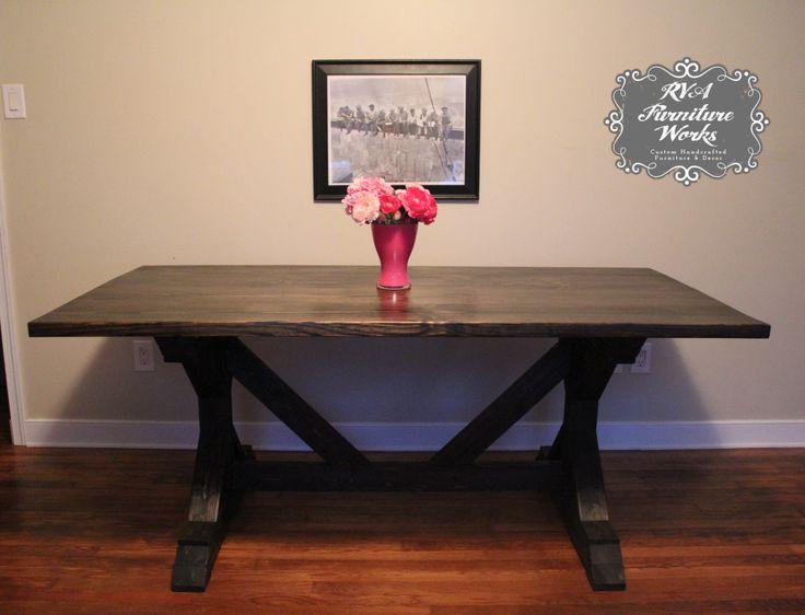 Exceptional Farmhouse Table ~ X Trestle Legs {ebony}
