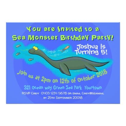 Cute Sea Monster 5 Years Old Birthday Invitation