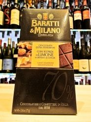 Online sales extra dark chocolate bars Baratti & Milano with lemon peel and candied ginger crystals. Shop online chocolate bars Piedmont Turin Baratti, with bitter lemon and ginger tablets Baratti & Milano. Shop on