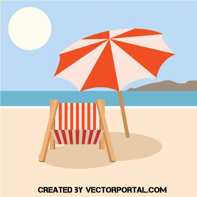 a1a522c9de Beach chair and sun umbrella vector image | CLIPART AND GRAPHICS in ...