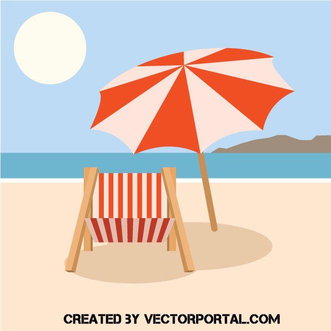 Beach Chair And Sun Umbrella Vector Image Sun Umbrella Umbrella Photography Kit