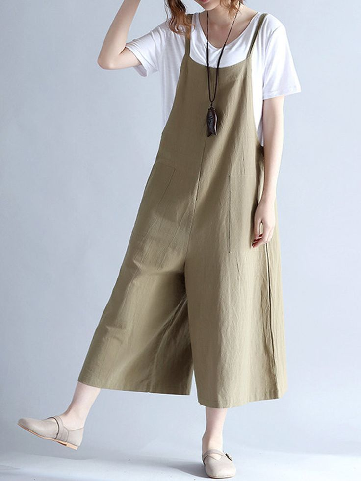 2b98c651bbd9 Casual Women Loose Solid Strap Pocket Overall Jumpsuits
