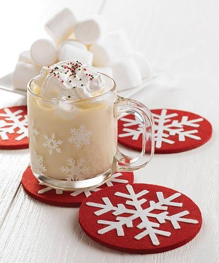 Felt Christmas Coasters idea. Easy to make yourself