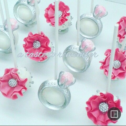 Engagement ring cake pops and flower cake pops