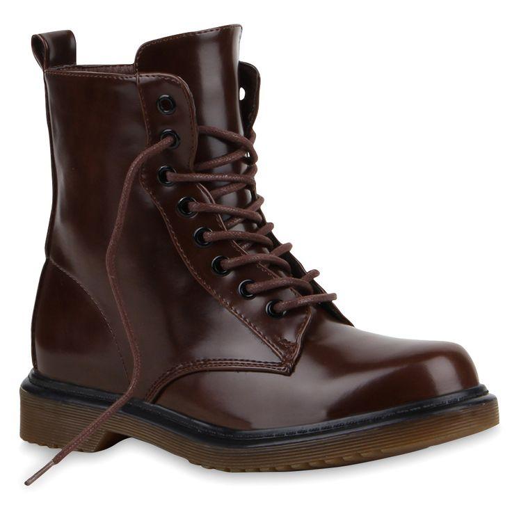 Damen-Stiefeletten-Lack-Worker-Boots-Schnuerstiefel-73761-Trendy