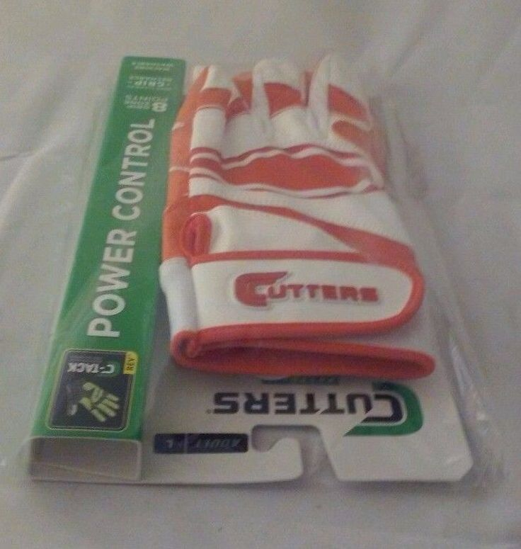 Cutters Gloves Men's Large Orange & White Power Control Baseball Batting Glove #Cutters