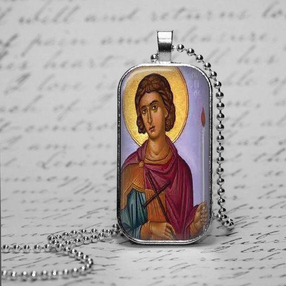 Greek Orthodox St Fanourios Glass Tile by DesignsofFaithandJoy