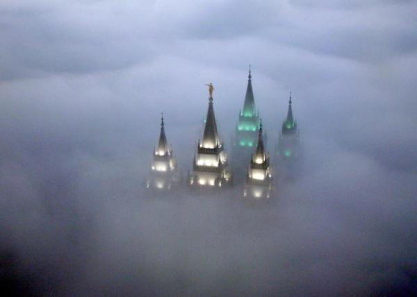 So cool. SLC Temple in fog.