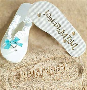 """A great gift for the Bride to be heading for a beach honeymoon! These flip flops leave an imprint in the sand that says """"Just Married""""! Just $5.99 at The House of Bachelorette!"""