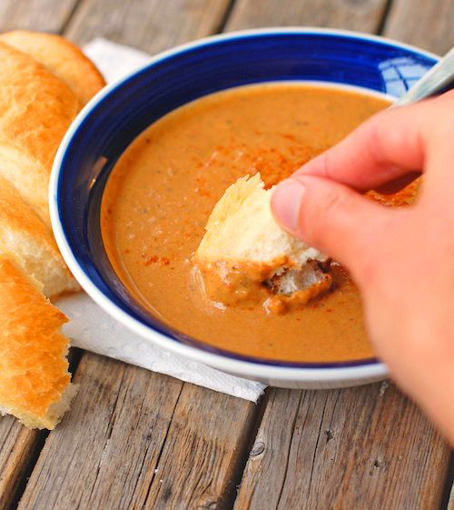 Roasted Red Pepper /w Eggplant soup! Loaded with Nasunin from eggplant, this creates a powerful antioxidizing soup mixture!