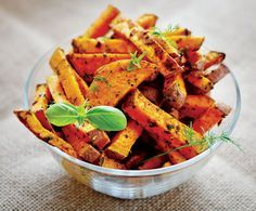 Sweet Potato Fries Wash and peel Sweet potatoes. Slice into 1/2 inch thick potato strips. Soak the potato strips in a bowl of water for 20 minutes, then drain and pat dry with paper towel Place the potatoes in a large mixing bowl, and stir in olive oil, salt, black pepper, garlic salt and paprika. Add the seasoned sweet potatoes to the air fryer basket and cook at 370 degrees for 20 minutes. Stir fried midway through cooking. Remove the basket when fries are crispy and golden brown