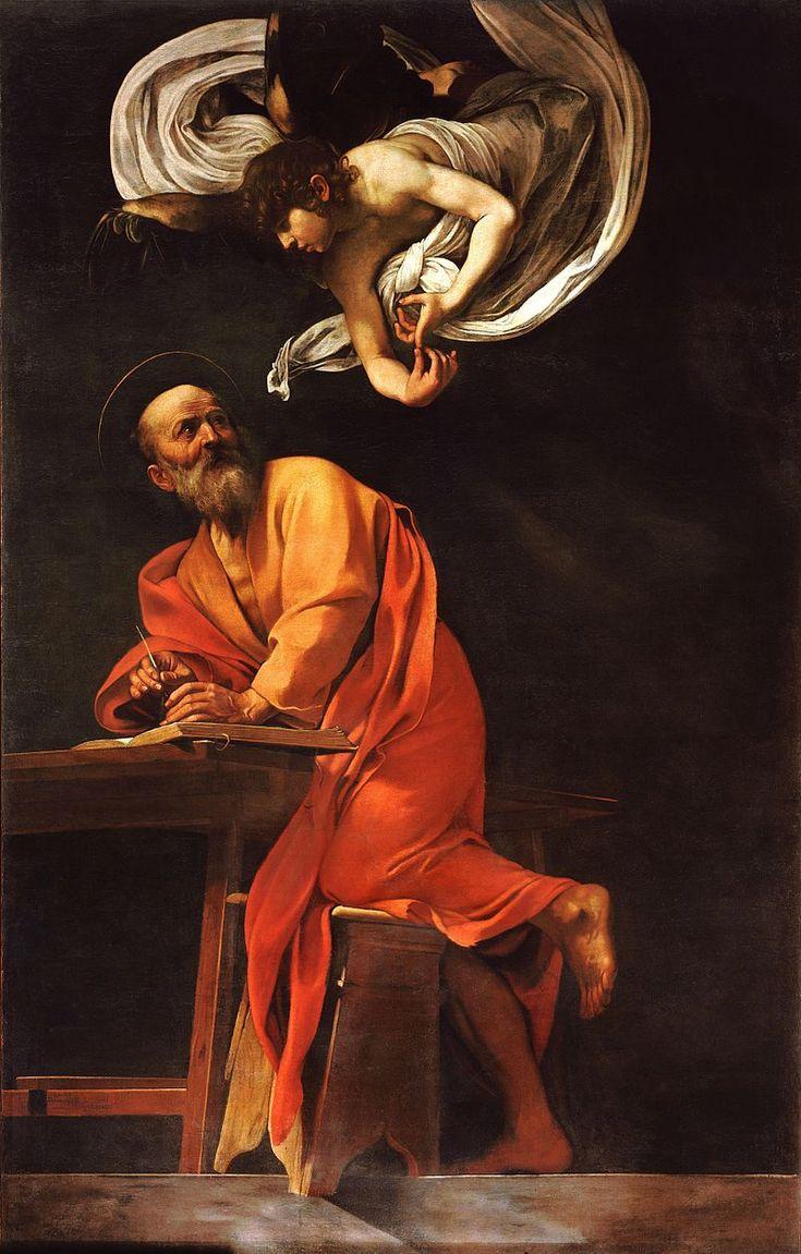 Saint Matthieu et l'Ange, 295× 195 cm, 1602, seconde version. Église Saint-Louis-des-Français (Rome).  Le Caravage