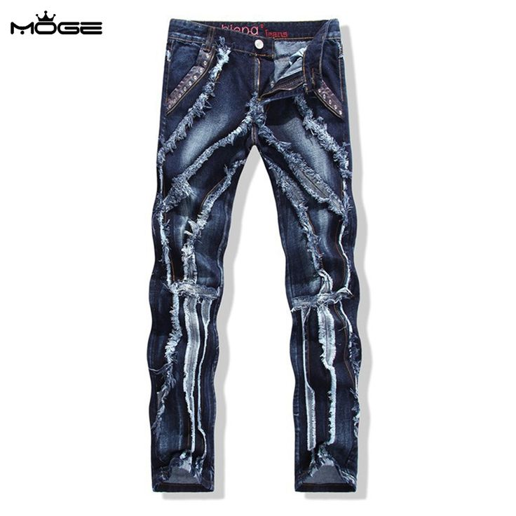 47.99$  Buy now - http://aligy8.worldwells.pw/go.php?t=32704058746 - MOGE men  distressed jeans men cotton black ripped jeans fashion torn jean parche en denim hip hop pantalones pitillos hombre