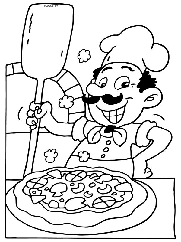 Kleurplaat Pizzabakker - pizzaria - Kleurplaten.nl