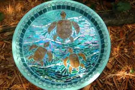 Sea turtle mosaic birdbath