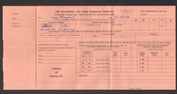 1972 The Baltimore and Ohio Railroad Company Claim for Vacation Pay Receipt