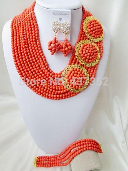 Удивительно! коралловый Цвет Оранжевый Бирюзовый 3 Броши Ожерелья Костюма Нигерийские Свадебные Африканские Бусы Комплект Ювелирных Изделий TC100
