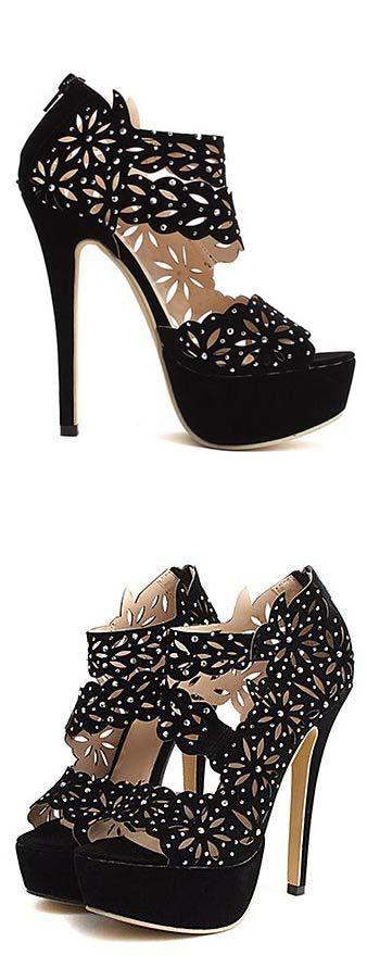 Cut out embellished heels