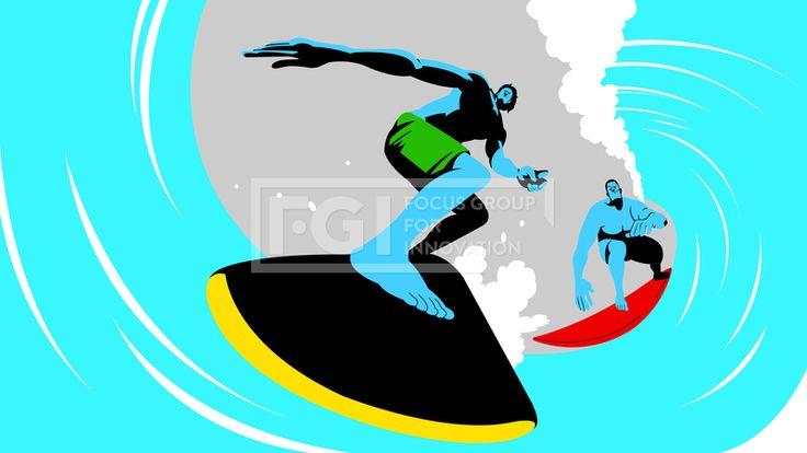 SILL270, 프리진, 일러스트, 사람, 인물, 캐릭터, 운동선수, 운동, 다이나믹, 스포츠, 국가대표, 선수, 체육, 체력, 그룹, 단체, 전신, 남자, 남성, 2인, 성인, 어른, 액션, 모션, 경기, 경쟁, 시합, 게임, 승부, 동료, 라이벌, 장비, 도구, 수영복, 프로, 건강, 수영, 파도타기, 서핑, 서핑보드, 파도, 바다, 물, 보드, 근육, 하늘색, 파랑, 파란, 푸른, 녹색, 초록, 연두, 노랑, 노란, 붉은, 빨간, 빨강, 그림자, #유토이미지