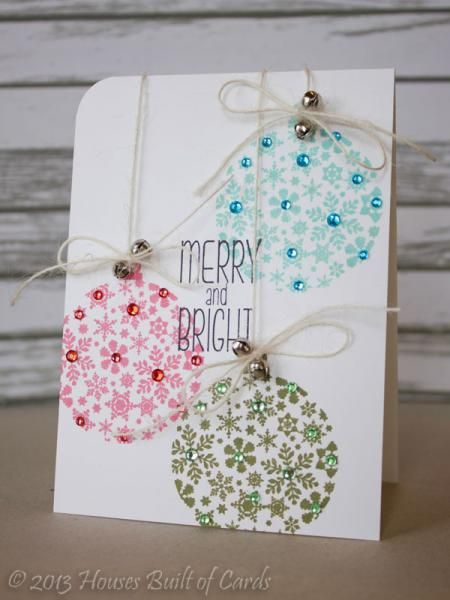 "Lovely ""Merry and Bright"" Ornaments Card...with rhinestone trim. By housesbuiltofcards - Cards and Paper Crafts at Splitcoaststampers."