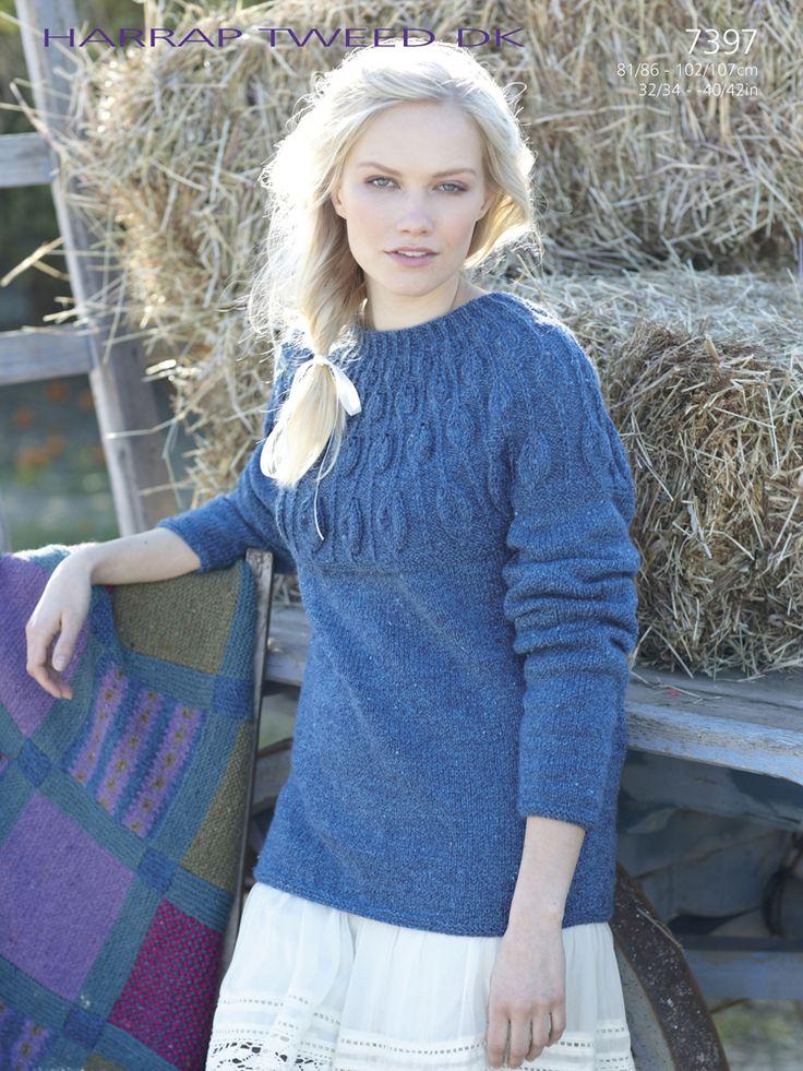 Sirdar 7397 Knitted Sweater in Harrap Tweed DK (#3 Weight Yarn)