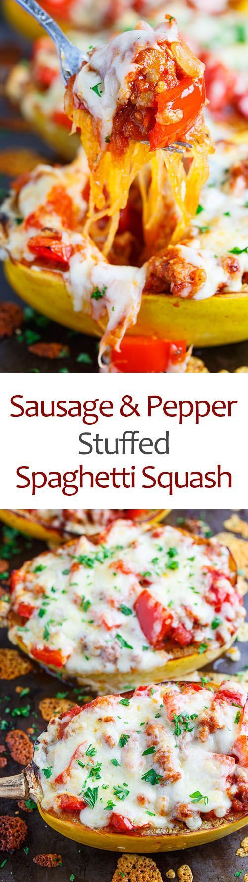 Sausage and Pepper Stuffed Spaghetti Squash - This recipe could not be easier. You simply roast some spaghetti squash stuff them with a mixture of Italian sausage and diced red peppers in a tomato sauce and cover it all in melted cheese!