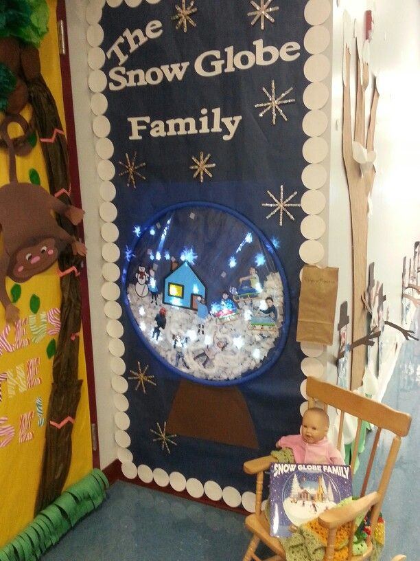 The Snow Globe Family- door decorating competition. We projected a GIF image of snowflakes falling! Too cute!