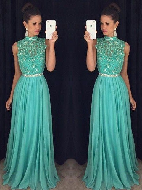 Green Prom Dresses,Open Back Long Formal Dresses,High Neck Tulle Chiffon Party Gowns, Beading Evening Dresses