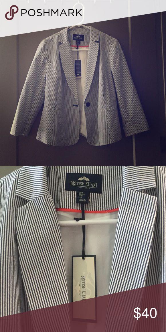 Seersucker Blazer NWT Seersucker Blazer SZ MED British Khaki Jackets & Coats Blazers