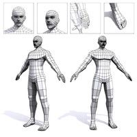 max generic male mesh human. 3d model low poly, unity