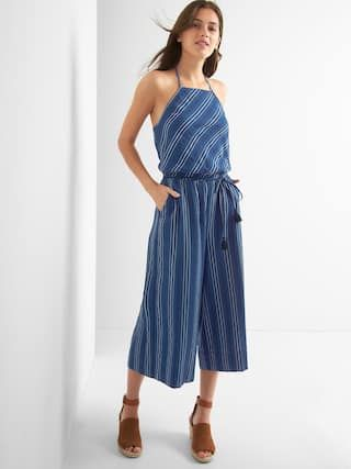 Stripe apron-neck culotte jumpsuit | Gap