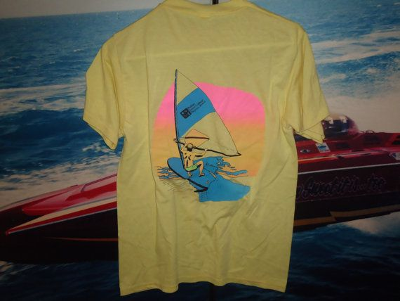 "HLDZ VNTG ELITE 80's neon Wind Surfer shirt "" Phillips Junior College Daytona Beach "" super rare classic 1980's"