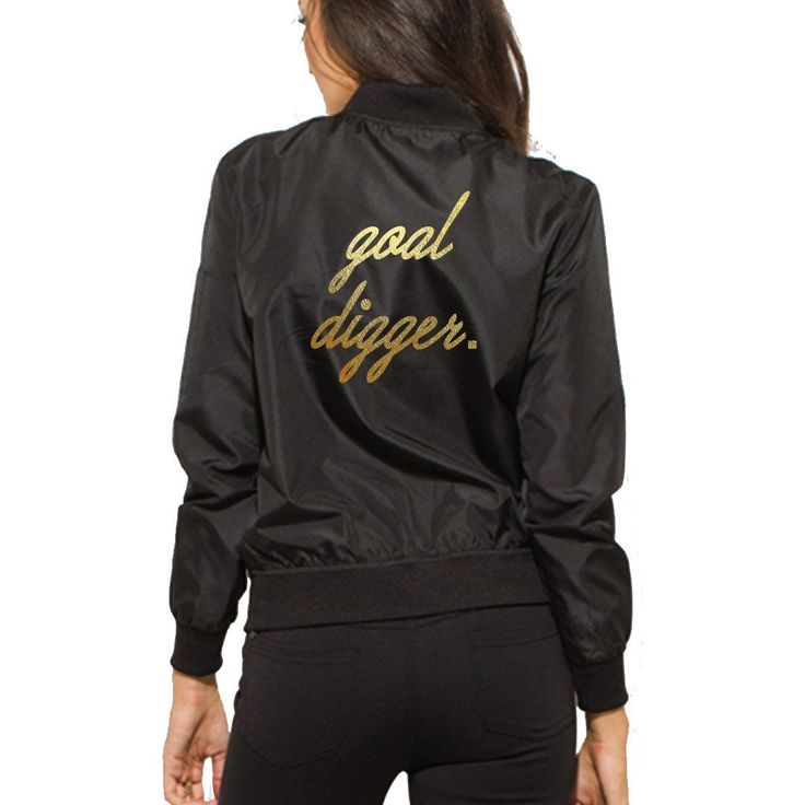 GOAL DIGGER Rock and Roll Black Bomber Jacket- Metal Concert Gold Font Zip Up Bomber Jacket- Classic Womens Fashion Jacket- Gift for Her by ADashofChic on Etsy