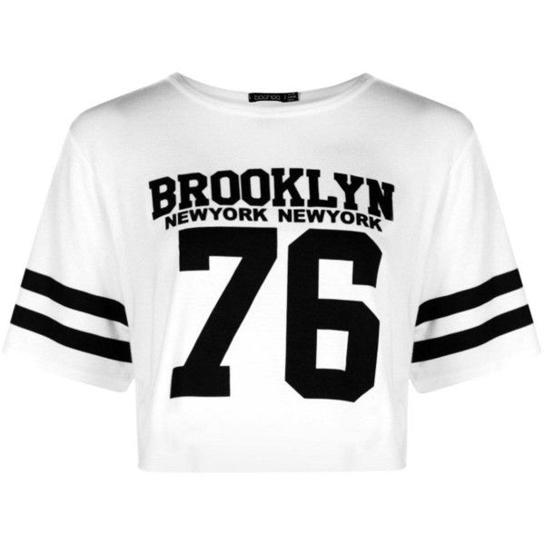 Boohoo Reece Baseball Brooklyn Boxy Crop ($10) ❤ liked on Polyvore featuring tops, basic t shirt, white crop top, jersey crop top, crop top and white high neck top