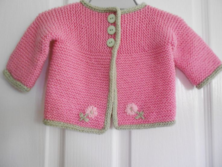 Beginner Baby Knitting Patterns : Ravelry: Jailous Pink Cardi for Mila - used pattern: Strawberry Pink Sid...