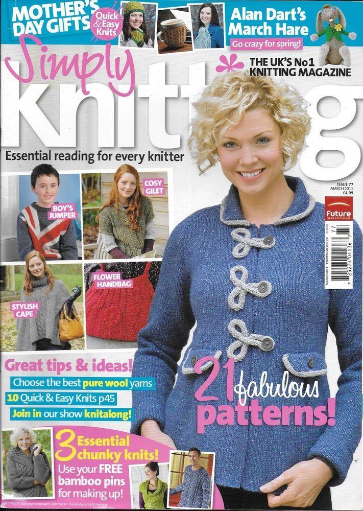 Simply Knitting magazine 21 patterns Stylish cape Boys jumper Flower handbag