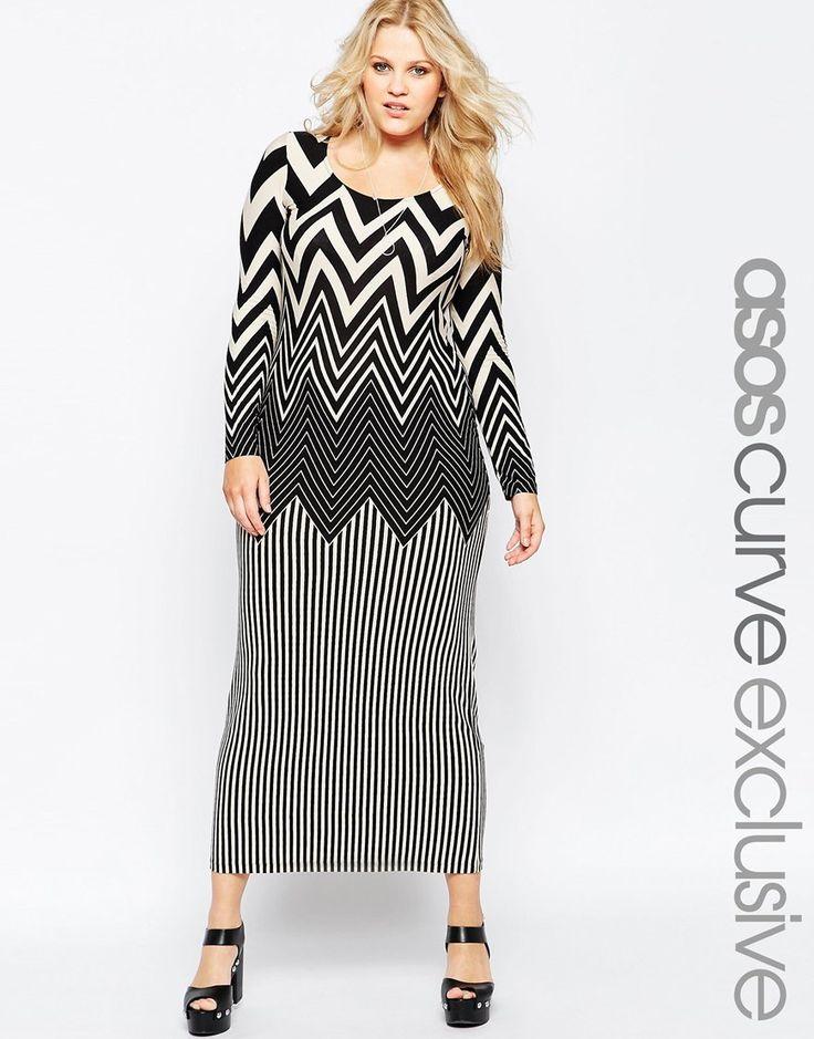 Image 1 ofASOS CURVE Maxi Dress In Chevron Print