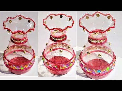 Plastic Bottle Craft | How to make a decorative pot from plastic bottle - YouTube