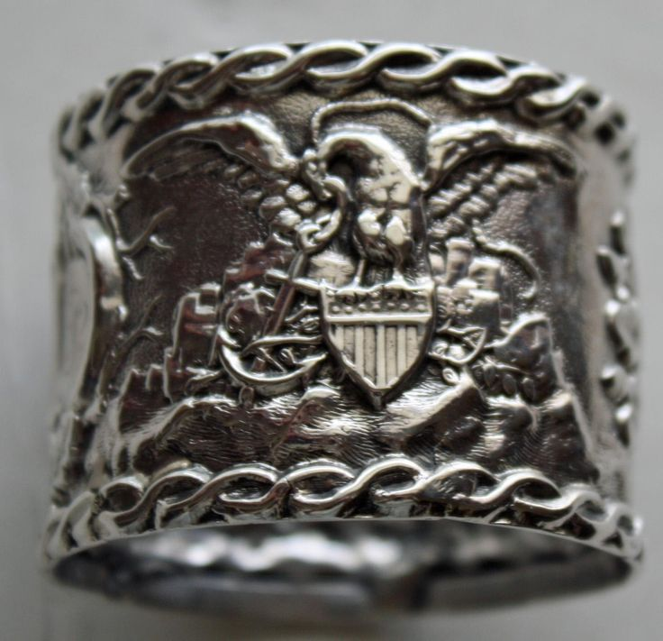 Very Early Patriotic Coin Silver Napkin Ring, Ship & American Eagle