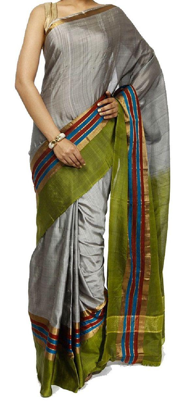 Uppada Gray Color plain Silk Saree with Green by UppadaPattu