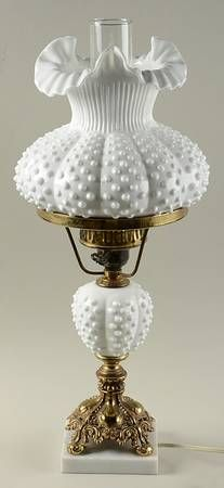 233 best fenton glass lamps images on pinterest glass lamps fenton hobnail milk glass 3807 21 electric student lamp shade aloadofball Gallery