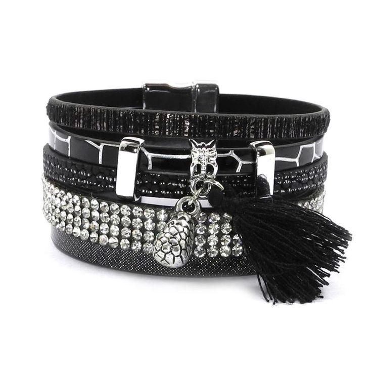 Black Leather Bracelet                      – Pink Fox Company