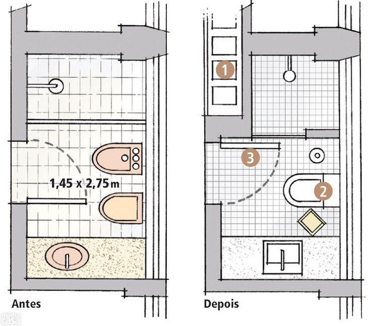 Banheiro de 3m² tem até luzes de camarim  UXUI Designer and Change 3 -> Medida Minima Banheiro Com Banheira
