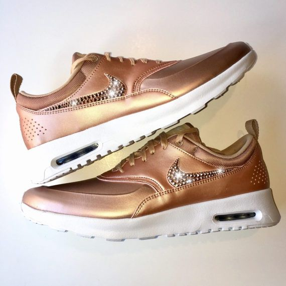 00a5e24bd38 ... WhiteMetallic Rose Gold  ROSE GOLD Bling Nike Air Max Thea Metallic SE  Shoes with Swarovski Crystals Bedazzled with 100 ...