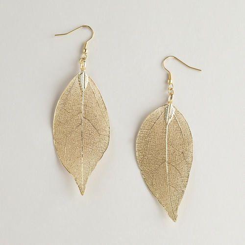 Gold Leaves Earrings | World Market