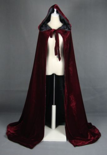 Wine Lined Satin Black Wedding Cape Christmas Cloak Wicca LARP s M L XL 2X 3X 6X | eBay $40