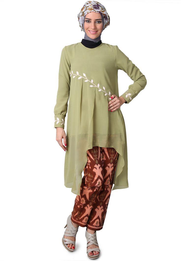 Belanja Pakaian Wanita PY By Poppy Theodorin Sasha Tunic Lengan Green | ZALORA Indonesia