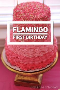 A gorgeous flamingo first birthday party! Handmade decorations, delicious food, hot pink cake, and twin birthday girls.